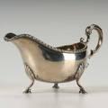 Irish silver gravy pitcher dublin 1772 bulbous on three hoof feet scroll handle gadroon edge 1056 ot 8 x 5 over handle