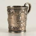 Boston coin silver repousse cup 19th century rococo ornaments and scroll handle inscribed from samuel whitney 474 ot 4 above handle