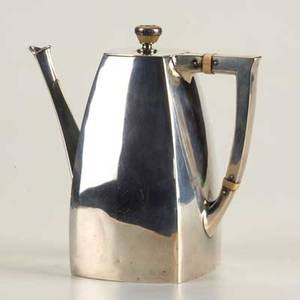 Art nouveau silver coffee pot by simpson hall miller  co ca 1900 square tapered form with ivory accented finial and insulators inscribed abernathy c1650 3 half pints 969 ot 6 note thi