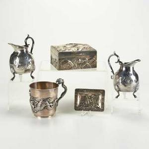 Silver and silver plate five pieces 19th20th century chinese export silver cup with applied dragon asian silver plate trinket box repousse with eagle on lid in high relief etc cup 387 ot t