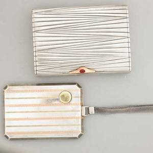 Two silver and gold accessories 84 silver cigarette case with gold and ruby thumbpiece marks for marius hammer and estonia 19201924 gilt interior 4 x 3 american sterling necessary with multi
