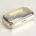 Tiffany  co silver jewelry casket ca 1909 cushionshaped with floral roquille etched ornament block monograms mgw red velvet liner 91 ot gw 5 12 x 3