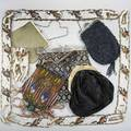 Collection of victorian and later jewelry accessories purses includes brass metal celluloid glass five purses etc