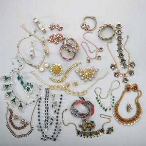 Collection of costume or silver jewelry fortysix pieces of various costume and silver jewelry including necklaces bracelet earrings suites etc