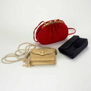 Three evening bags by judith leiber or bottega veneta ca 1990 black leather woven satin clutch by bottega veneta on long corded strap judith leiber textured goldcream suede example with jeweled t