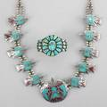 Navajo silver squash blossom necklace and turquoise cuff sterling necklace with turquoise and coral chip inlaid peyote birds and ten smaller birds surrounding larger middle bird unmarked 27 open