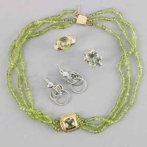 Contemporary gold or silver jewelry 14k green quartz necklace marked armany judith ripka quartz and diamond ring in sterling and 18k yg david yurman quartz ring in sterling and 14k sterling and