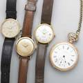 Four timepieces three omega wristwatches 18k seamaster automatic with sweep second hand and date automatic gf and steel with sweep second hand gf seamaster quartz watham gf of pocket wat
