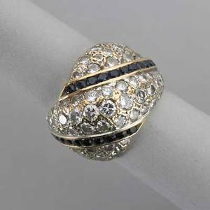 Diamond pave bombe ring with sapphire channels diamonds approx 3 cts tw in yellow gold holds for 18k 8 dwt 124 gs size 6
