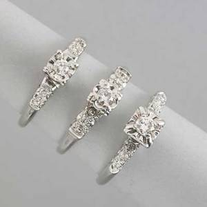 Three diamond 14k white gold engagement rings ca 1950 newoldstock each a box set circular brilliant cut diamond with diamond shoulders 50 ct tw 41 dwt gw 65 gs gw size 6 12