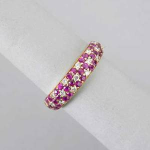 Le vian 18k yellow gold ruby and diamond ring half hoop in hawaiian flower design pave set diamonds approx 28 ct rubies approx 60 ct 28 dwt 44 gs size 6 12