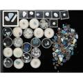 Tray of assorted unmounted opals and gemstones mixed cabochons faceted gems pebbles and doublets