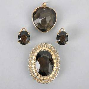 Gold smokey quartz jewelry brooch heartshaped pendant and clip earrings marked 14k 173 dwt 269 gs  largest 1 58 x 1 14