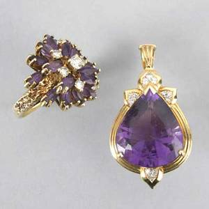 14k gold diamond and amethyst jewelry late 20th century pendant with teardropshaped amethyst and diamond accents 1 12 amethyst and diamond cluster ring size 8 148 dwt 229 gs