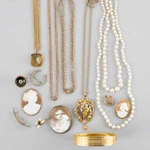 Gold gold filled and pearl jewelry fifteen pieces 19th20th c four victorian gold filled chains or necklaces includes enamel and citrine gold filled cameo brooch hinged bangle and heart locket