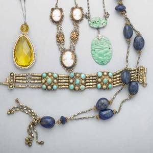 Five pieces interesting silver jewelry 19001930 chinese carved jade lavalier cameo and gilt wirework necklace amber glass lavalier egyptian bracelet with turquoise egyptian soitoire with lapis