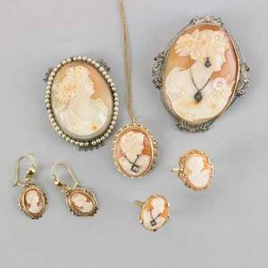 Shell cameo jewelry 19th20th c seven pieces 14k wg filigree cameo habile brooch with diamonds 14k yg ring pendant necklace on 18 chain 14k yg pendant earrings in 14k yg ring in 10k silv