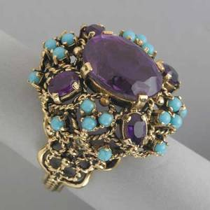 Amethyst and turquoise gold ring ca 1960 a bombeform trellis with oval amethysts and blue beads possibly glass in 14k 131 dwt gw 203 gs gw size 9 12