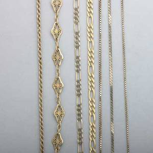 Yellow gold chain necklaces and bracelets large link necklace 24 with matching bracelet 7 marked 14k italy 18k ornate bracelet 8 four 14k yg necklaces longest 23 332 dwt 517 gs