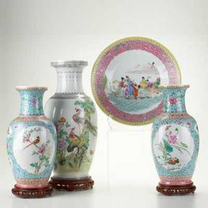 Chinese porcelain four pieces 20th c pair of vases in floral pattern decorated with birds charger decorated with party scene and large vase with classic greek pattern tallest 20