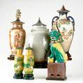 Asian lamp grouping six two satsuma three pottery and figural foo dog tallest 20 12