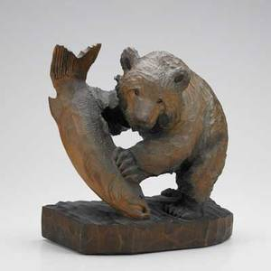 Asian wood carving of bear with salmon japanese ainu 20th c 13 12 x 12 14 x 7 12
