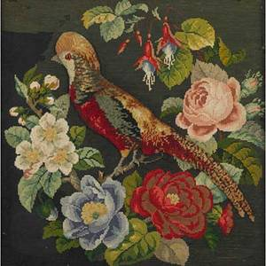Two decorative needleworks punchwork embroidery of a parrot together with a lamb hooked rug mounted on stretcher 19th20th c larger 22 x 30