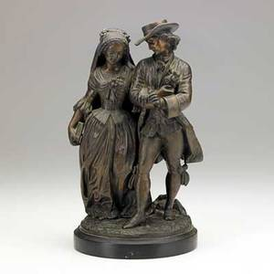 After duchoiselle french 19th c bronze of a young couple walking arm in arm 19th20th c signed duchoiselle 1856 11