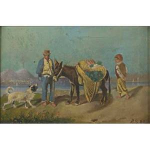 Alp skilling american 19th c oil on canvas of neapolitan scene with figures 1882 framed initialed and dated 8 x 12