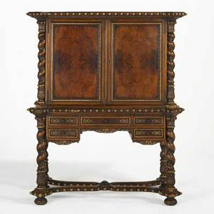 Belgian secretaire abattant walnut with cabinet doors over bottom drawers to interior and to base 20th c 58 12 x 45 x 21