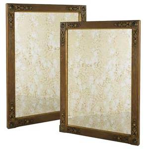 Edwardian pair of large wall mirrors ca 1900 parcel gilt oak and mirrored glass unmarked each 62 x 46 3