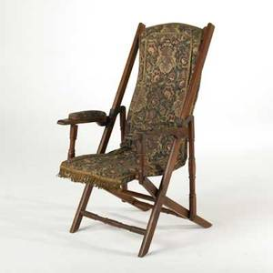 Victorian carpetseat folding chair late 19th c walnut wool and metal unmarked 42 12 x 27 x 23