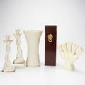 Lenox wedgwood etc five pieces 20th c five pieces wedgwood for williamsburg flower holder pair lenox dolphin form candlesticks etc tallest 12 12