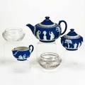 Wedgwoodetc three piece jasperware teaset together with pair of engraved bowls wedgewood marked teapot 5 12