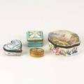 Snuff boxes four pieces 19th20th c heart shaped porcelain a trifle from lowestoff 1795 french bronze with handpainted dancing cherubs french faience handdecorated with fishermen and a hand