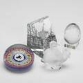 Baccarat and lalique four paperweights egg and stand city scape silhouette and gridell rooster by baccarat together with lalique swan all marked tallest 3