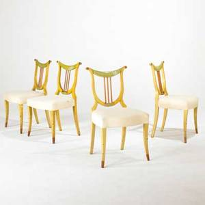 Classical revival set of four lyre back chairs 1930s painted wood and upholstery unmarked each 35 x 20 x 20