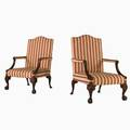 George iii style pair of armchairs 20th c carved mahogany frames with striped upholstery unmarked each 44 12 x 29 12 x 32
