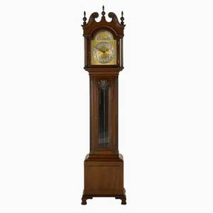Grandfather clock colonial manufacturing co mahogany case mixed metals time and strike with moon face and eight day dial 20th c 85 x 19 14 x 12 12