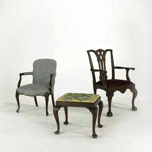 Traditional furniture chippendale armchair open armchair and needlepoint ottoman 20th c chippendale chair 39 12 x 26 12 x 20
