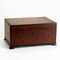 Dunhill burl walnut humidor with band inlay and tinned interior metal label 6 12 x 13 x 9