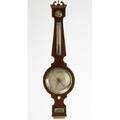 Jcetta english barometer mahogany light wood string inlay brass and glass london ca 1900 40 x 11 x 2