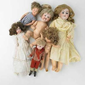 Dolls grouping of six porcelain and composition dolls including shoenhut gb  co etc german and american early 20th c tallest 18 12