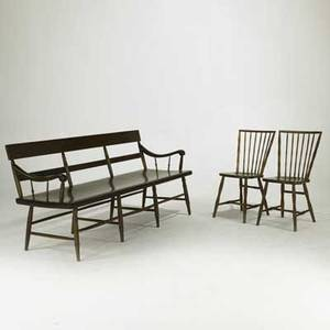 Country furniture group deacon bench with plank seat together with two rodback windsor side chairs early 19th c bench 34 x 72 12 x 26 12