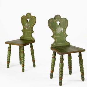 Pair of swedish cottage chairs painted decoration with cutout backs and turned legs late 19th c 38 x 16 12 x 16