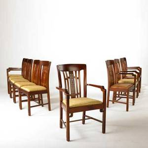 After greene and greene contemporary dining chairs late 20th c four arm and six side mahogany with silk and vinyl upholstery some marked made in indonesia 9 x 24 12 x 21