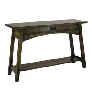 Contemporary arts  crafts stickley style single drawer console table quartersawn oak oak veneer and copperpatinated handle late 20th c unmarked 30 x 46 x 16