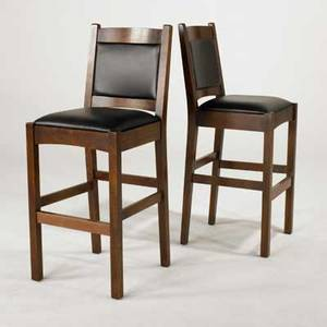 Stickley by e j audi pair of contemporary stickley style barstools quartersawn oak copper and vinyl upholstery late 20th c brandedmetal tag 45 x 18 12 x 19