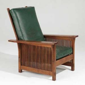 Stickley by ej audi contemporary flatarm spindled morris chair with loose cushions usa late 20th c quartersawn oak oak veneer and leather stampedmetal tag 38 12 x 29 x 34 12