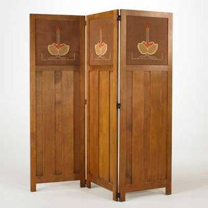 Stickley by e j audi contemporary gustav stickley style threepanel folding screen with embroidered inserts quartersawn oak burlap and embroidery threaded late 20th c brandedmetal tag each p
